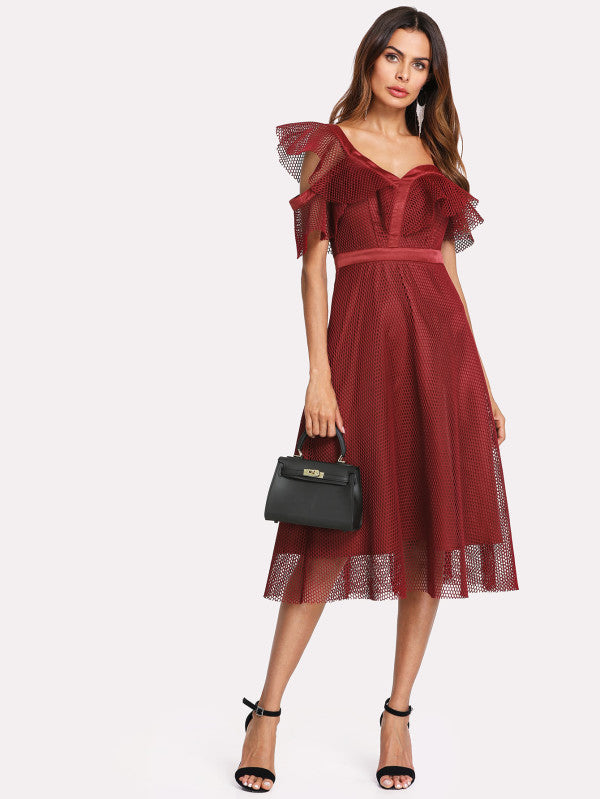 Asymmetric Shoulder Eyelet Mesh Overlay Dress