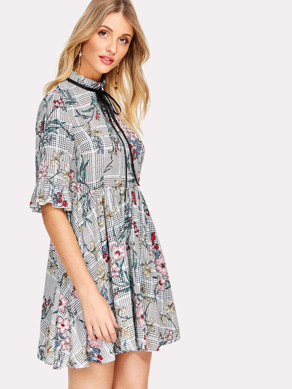 Tie Neck Mixed Print Flounce Sleeve Dress