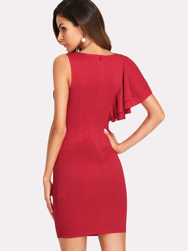 One Side Ruffle Trim Solid Dress