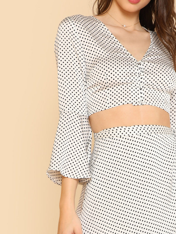 RZX Trumpet Sleeve Polka Dot Top & Wrap Skirt Set