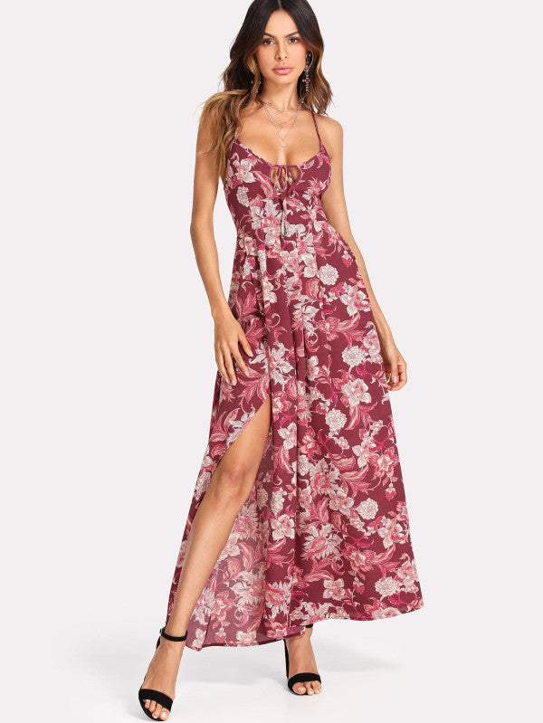 Strappy Back Split Side Floral Dress