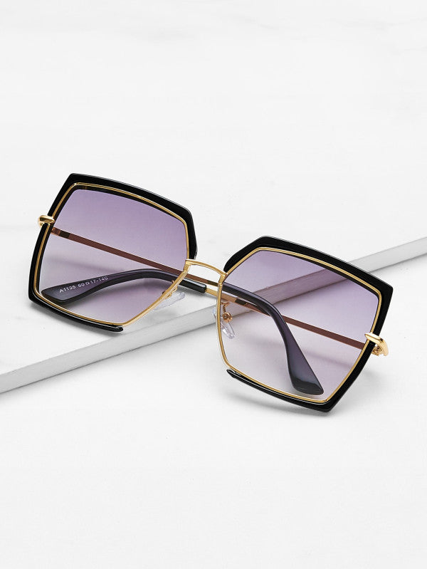 Irregular Flat Lens Sunglasses