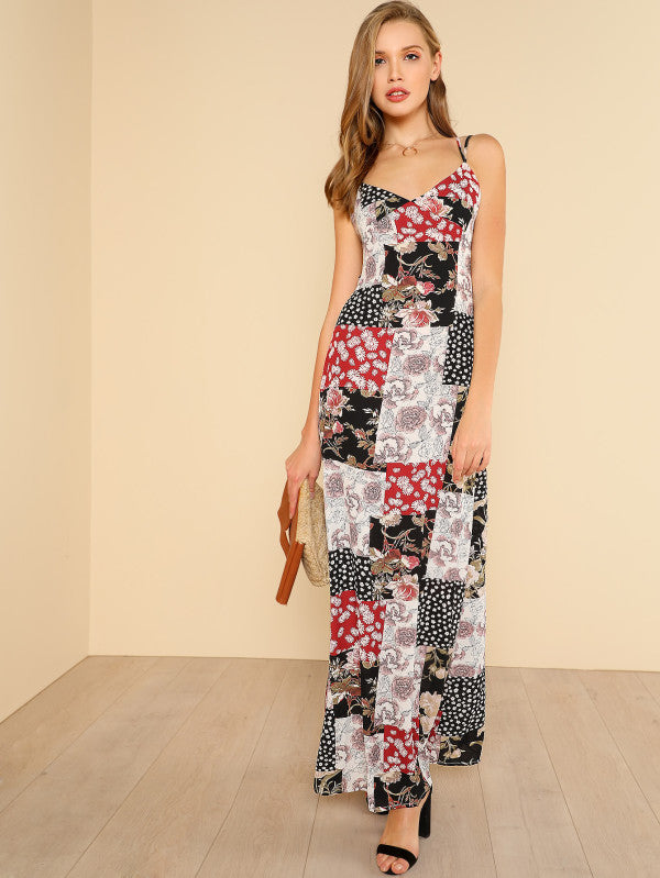 Crisscross Back Floral Patchwork Print Cami Dress