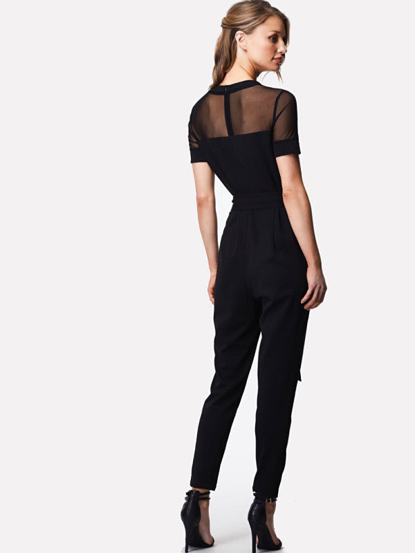 Mesh Yoke Rose Patched Solid Jumpsuit