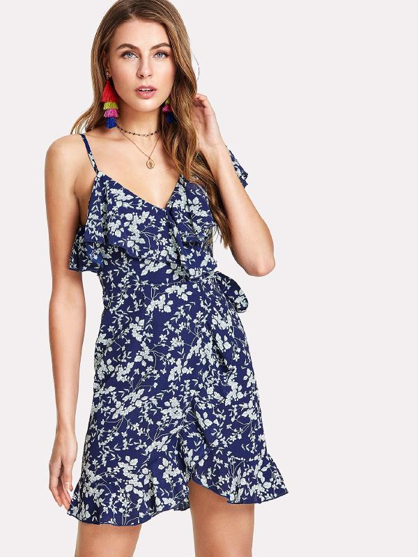 Flower Print Asymmetrical Shoulder Ruffle Trim Dress