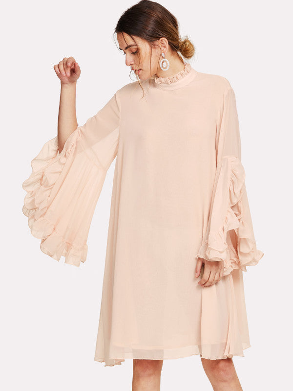 Frill Sleeve And Cuff Flowy Dress