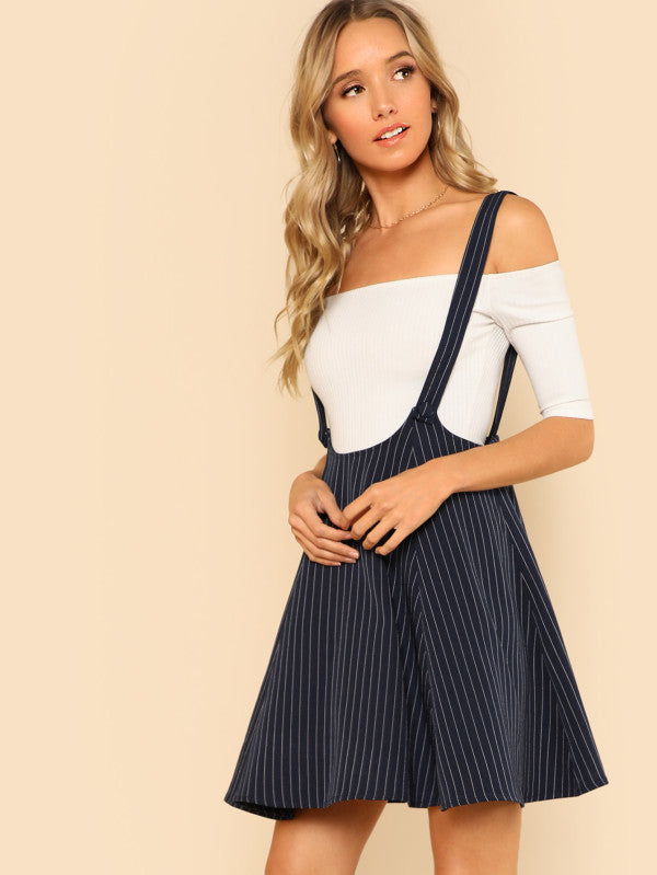 Striped Flare Skirt With Strap