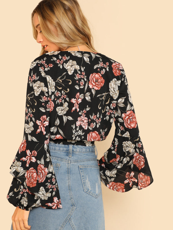 Ruffle Sleeve Button Up Floral Blouse