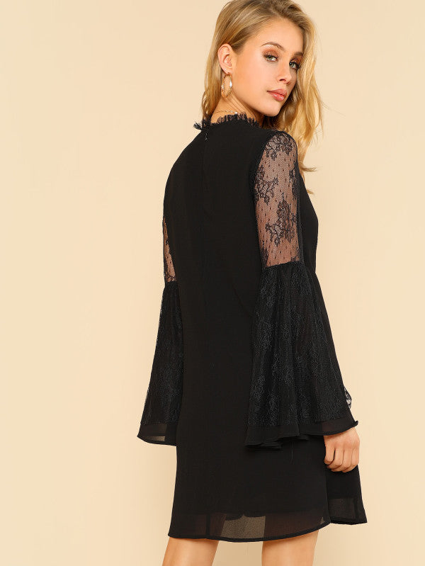 Lace Yoke Trumpet Sleeve Tunic Dress