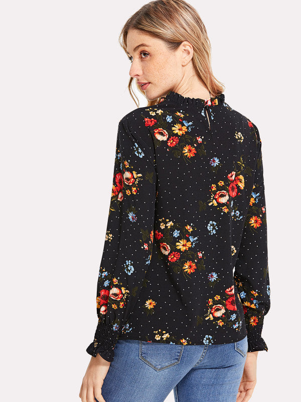 Flower Print Frilled Top