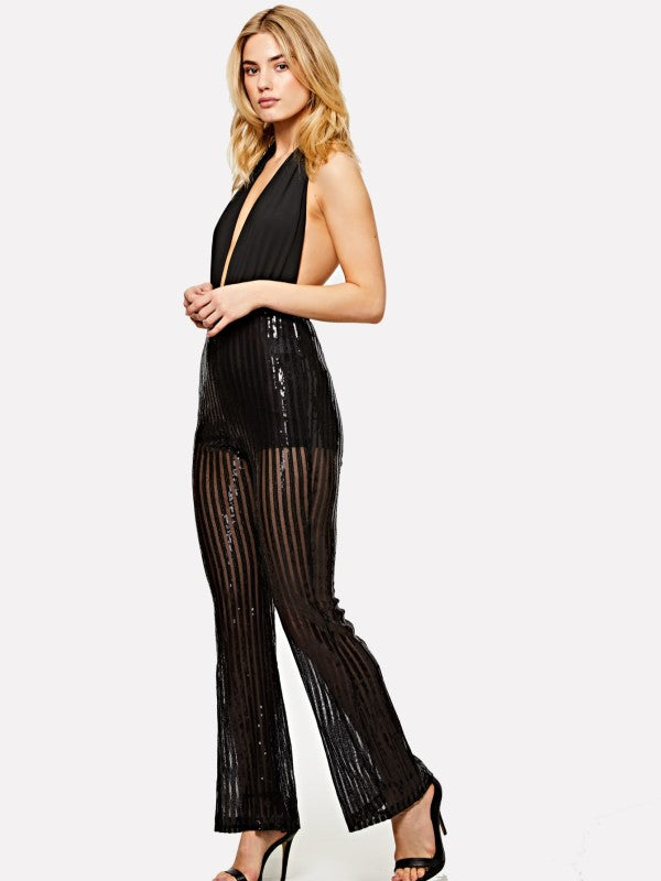 Plunge Halter Neck Flared Sequin Jumpsuit