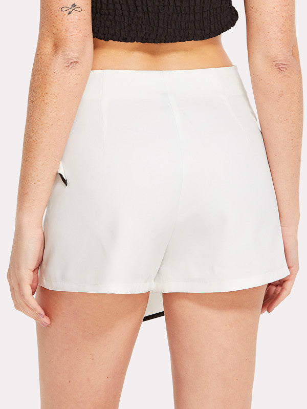 Contrast Binding Knot Side Skirt Shorts