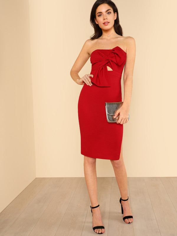 Knot Front Split Side Tube Dress