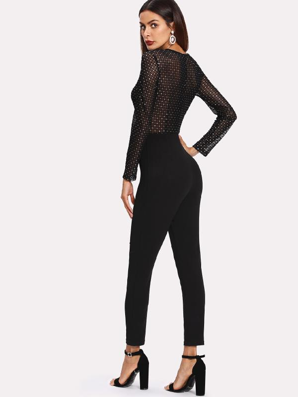 Polka Dot Grid Sheer Bodice Jumpsuit