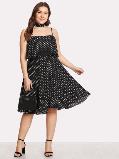 Double Layer Polka Dot Cami Dress with Neck Tie