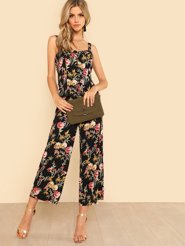 Floral Lace Up Front Top And Wide Leg Pants Set