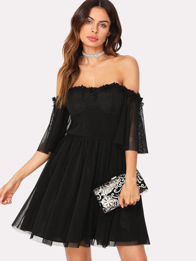 Lace Detail Mesh Overlay Bardot Dress