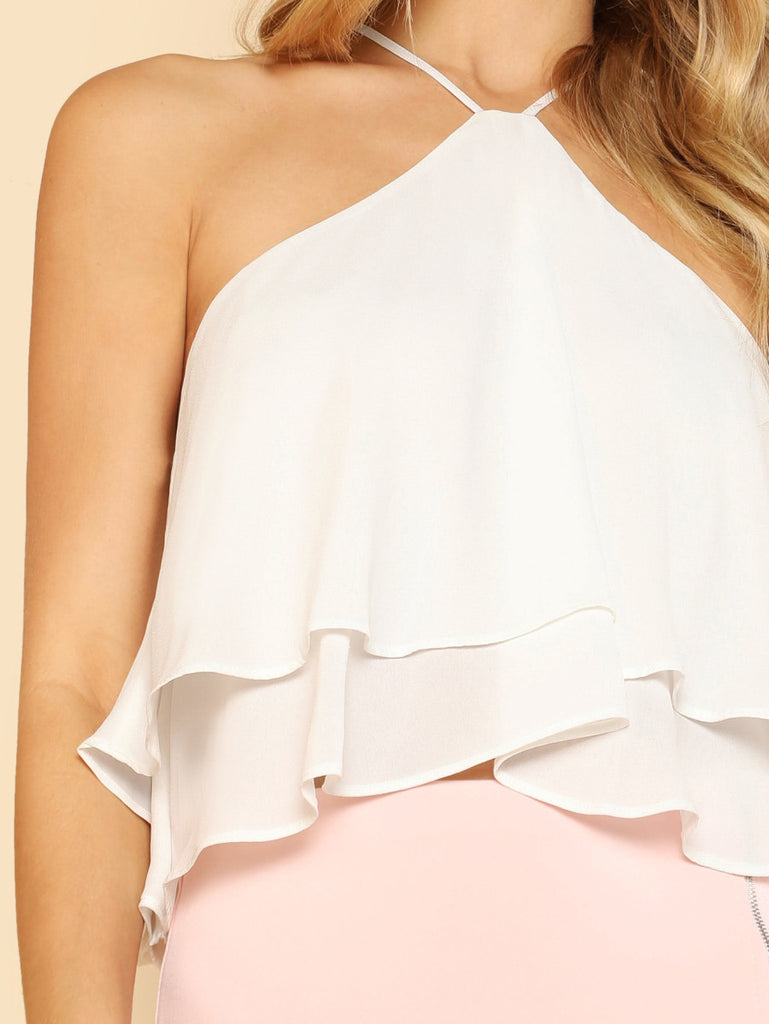Zip Back Halter Flowy Top