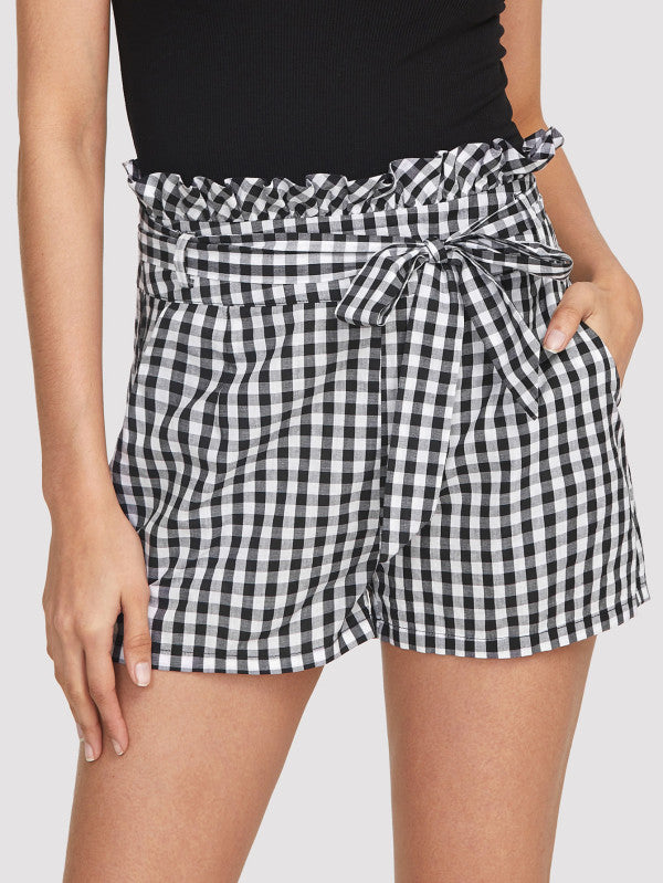 Self Belted Frilled Waist Gingham Shorts
