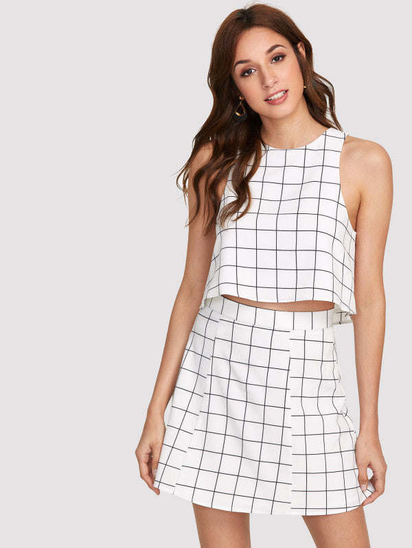 RZX  Keyhole Back Grid Crop Top And Zip Up Skirt Set