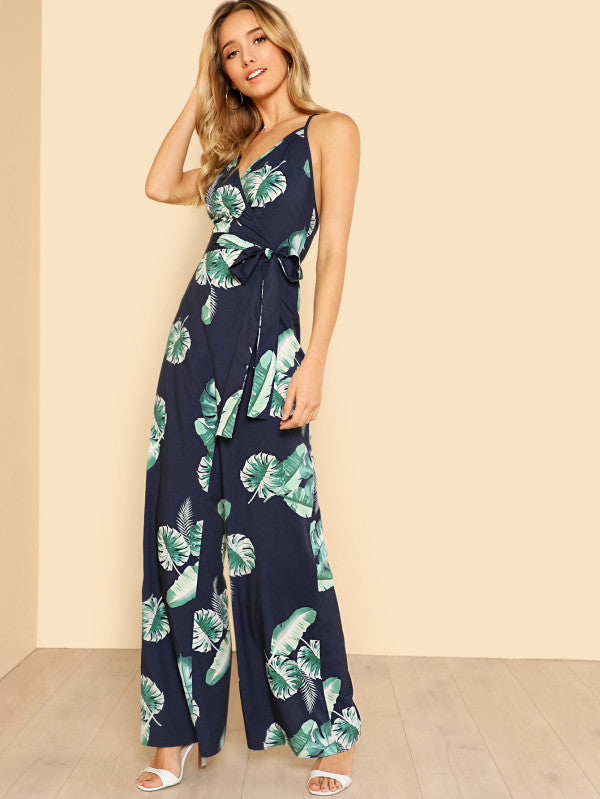 RZX Tropical Print Wide Leg Cami Jumpsuit