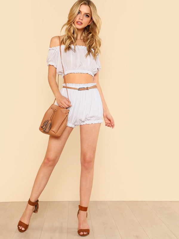 Frilled Crop Crinkle Top & Shorts Set