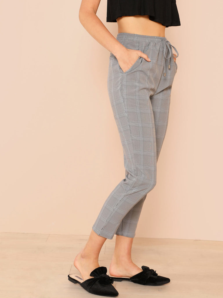 RZX Pocket Patched Plaid Drawstring Pants