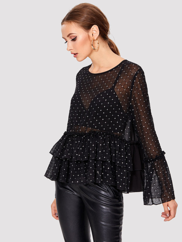 Star Print Frill Detail Tiered Top