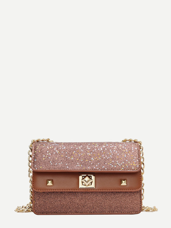 Studded Decor Glitter Chain Crossbody Bag