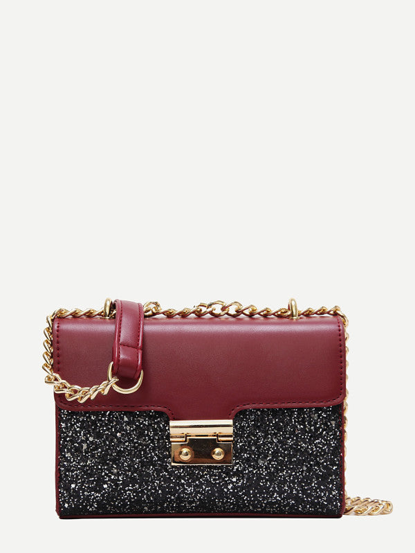 Two Tone Glitter Chain Crossbody Bag