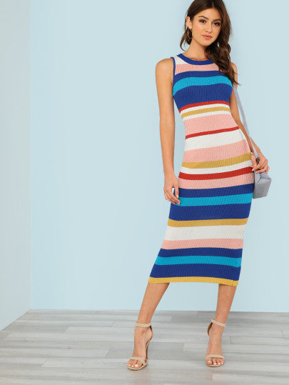 RZX Striped Ribbed Knit Sleeveless Sweater Dress