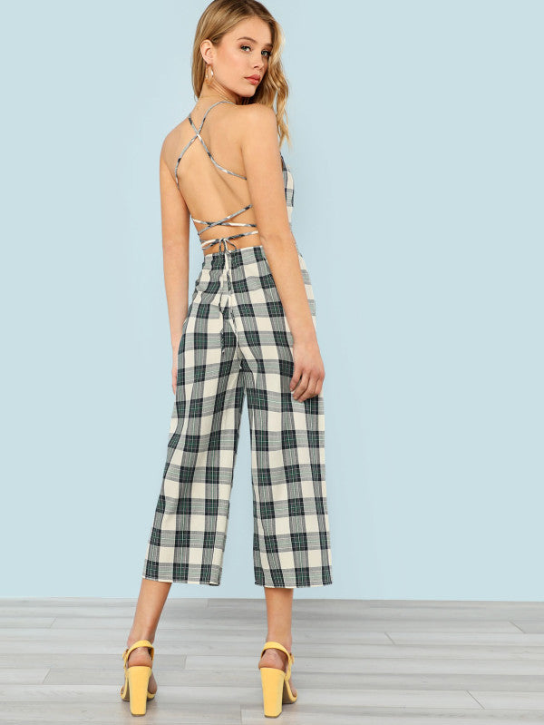 RZX  Lace Up Open Back Crop Plaid Cami & Pants Set