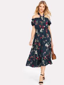 Halter Neck Shirred Waist Floral Dress