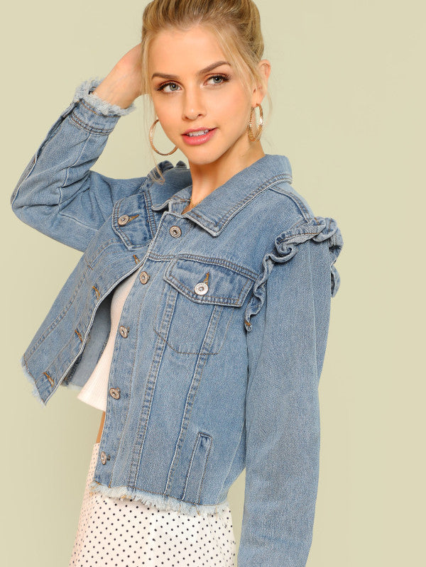 Raw Hem Denim Jacket With Frill Shoulder Trim