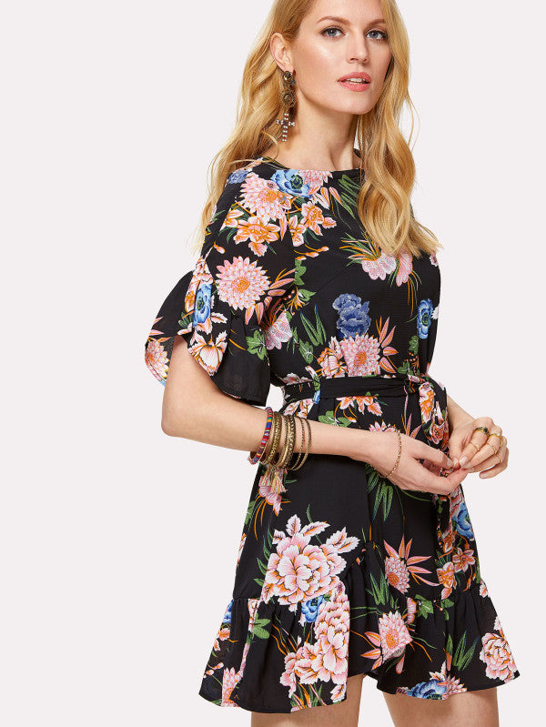 Belted Ruffle Trim Botanical Dress