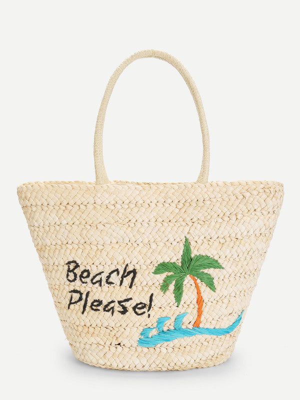 Palm Tree Straw Tote Bag
