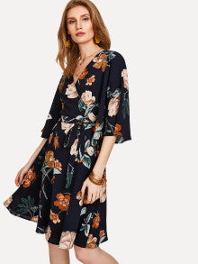 Flower Print Flutter Sleeve Wrap Dress
