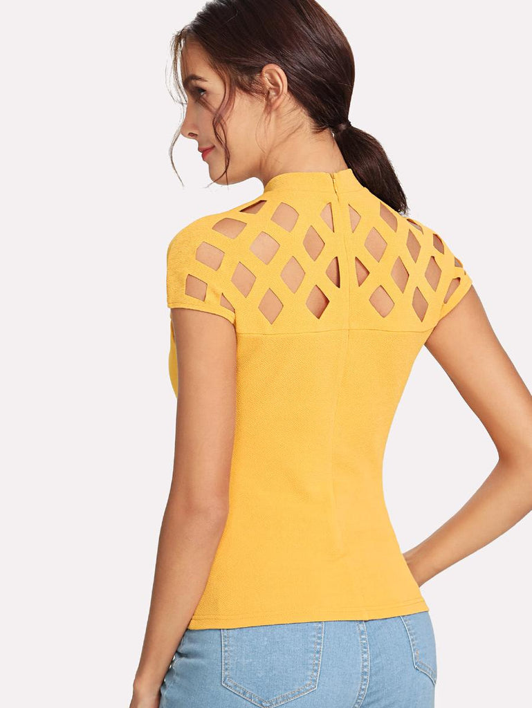 Cutout Neckline Zip Back Tee