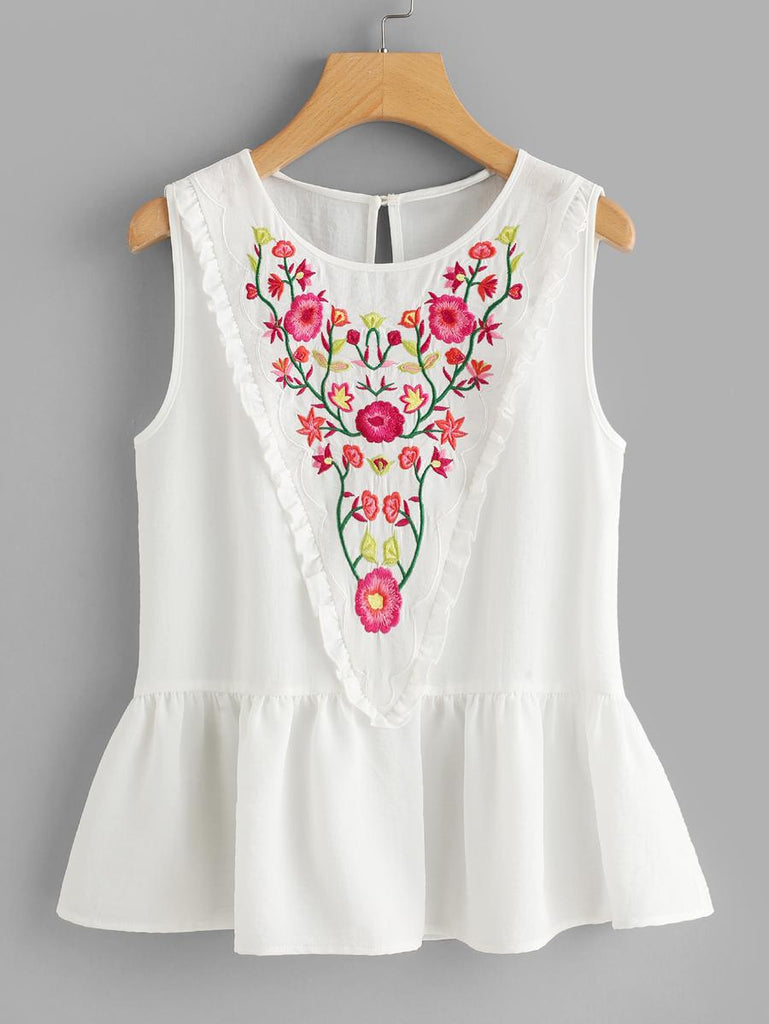 Frill Trim Embroidered Peplum Top