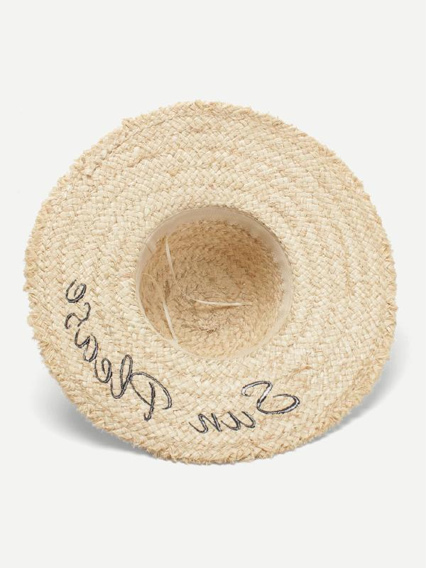 Embroidered Letter Straw Hat
