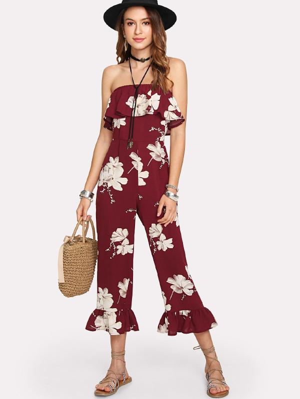 Ruffle Trim Florals Tube Jumpsuit