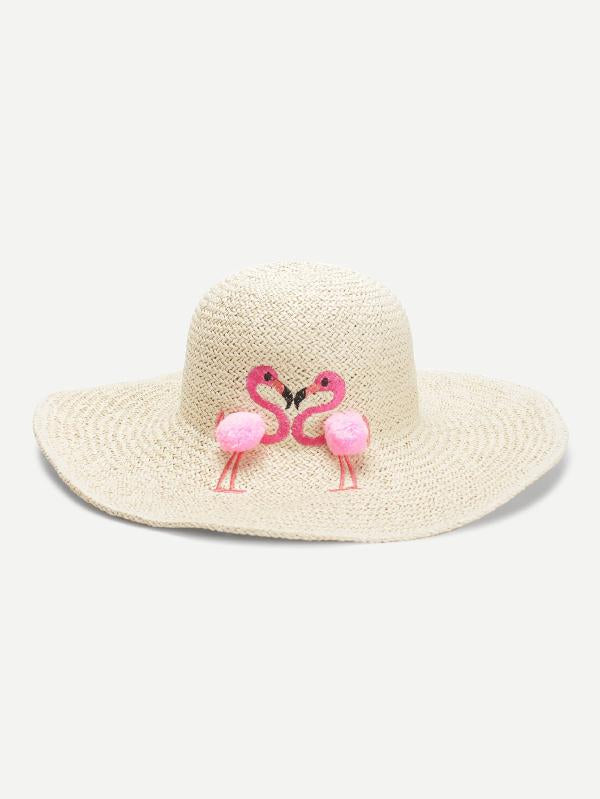 Flamingos Decorated Straw Hat