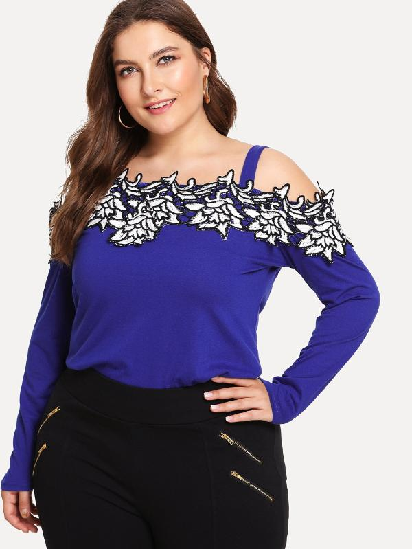 Embroidered Flower Applique Cold Shoulder Top