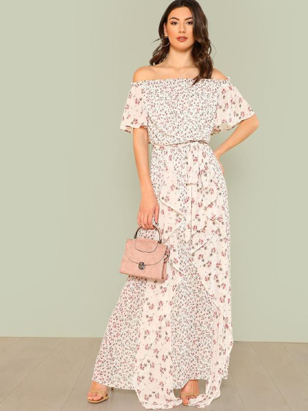 Flutter Sleeve Frill Detail Floral Dress