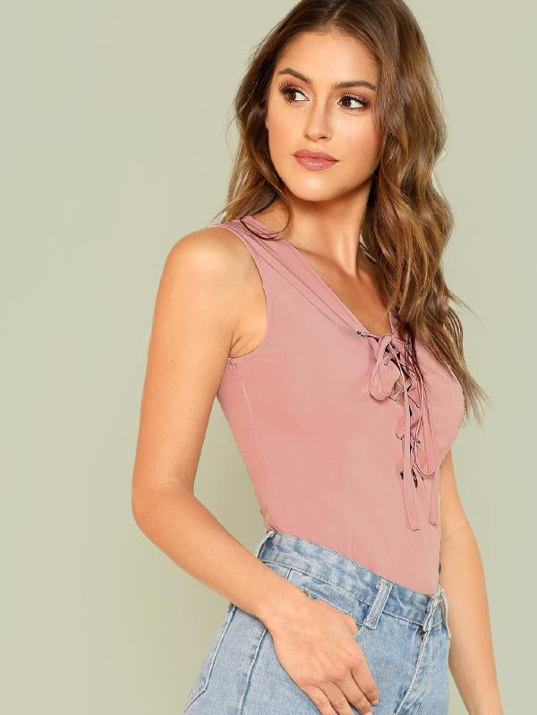 RZX  Grommet Lace Up Front Top