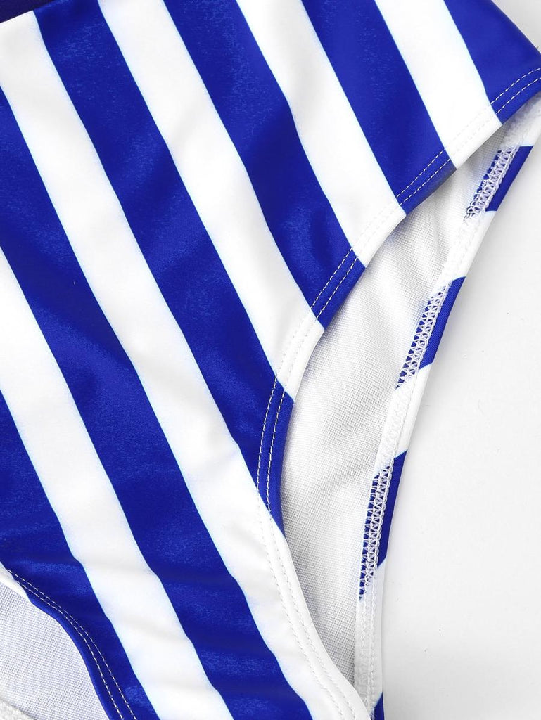 Palm Print Striped Swimsuit