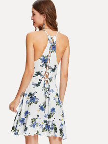 Lace Up Back Flounce Wrap Cami Dress