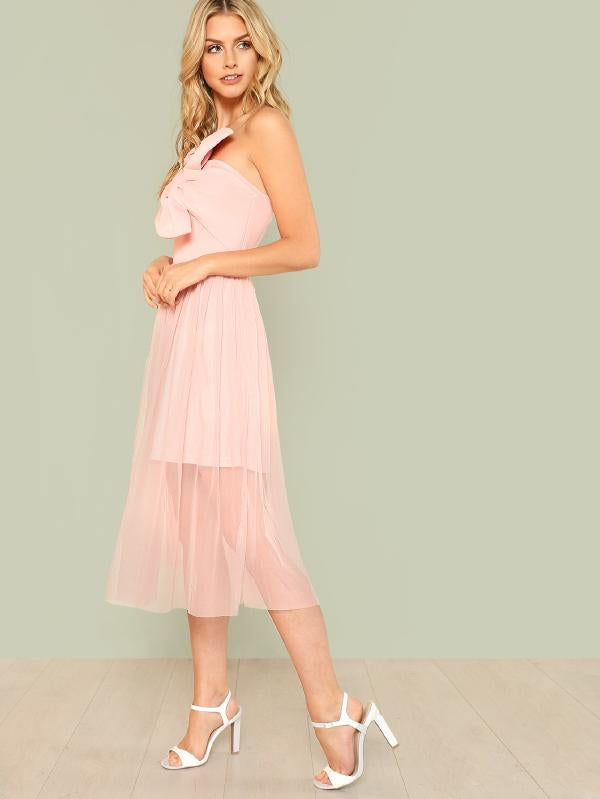 Exaggerate Bow Embellished Mesh Overlay Strapless Dress