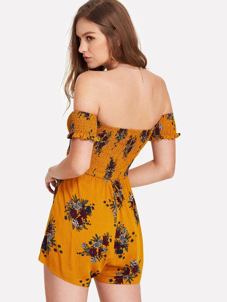 Off Shoulder Frilled Cuff Floral Smock Romper
