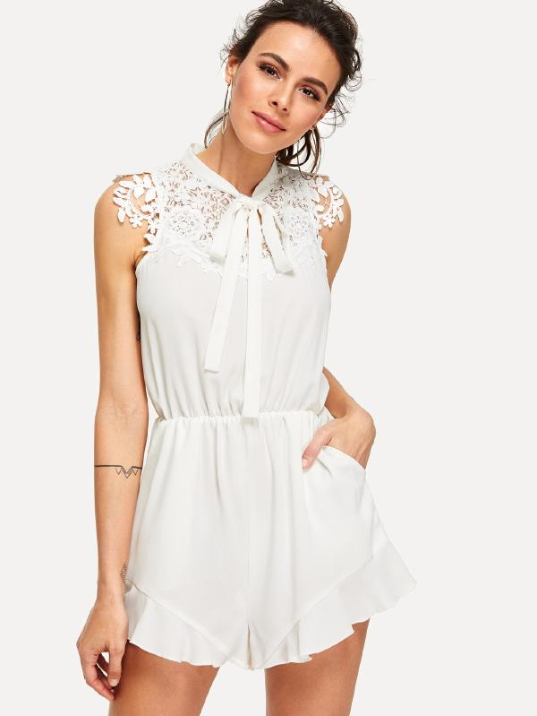 RZX  Tie Neck Lace Trim Pocket Side Romper